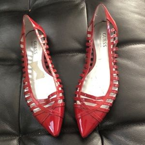 Guess red patent flats